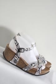 Sunbay - Grijs lederen sandalen met sleehak - Mt 40