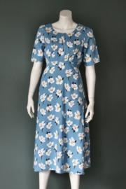 Fever London - Blauw gebloemde midi jurk - Mt 40
