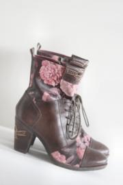 Dizo - Bruin lederen veterlaarsjes met roze bloemen - Mt 38