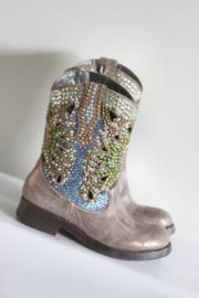 Giancarlo Paou - Goud metallic lederen boots met stenen - Mt 36