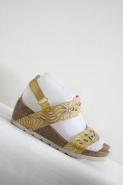 Mia Loè - Geel lederen sleehak sandalen - Mt 38