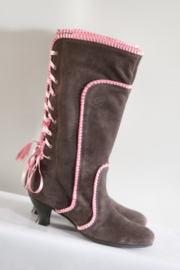 Deerberg - Bruin roze suede veterlaarzen - Mt 39