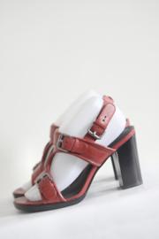 Calvin Klein - Rood lederen sandalen met blokhak - Mt 39