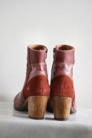 ART - Rood lederen enkellaarsjes met print - Mt 38