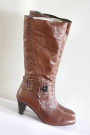 Seicento - Hoge bruin lederen laarzen met gesp - Mt 43