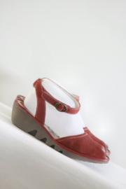 Fly London - Rood lederen sleehak sandalen - Mt 39