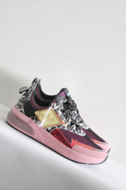 Replay - Roze lederen sneakers met print - Mt 37