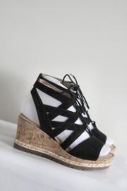Gabor - Zwart suede sandalen met sleehak - Mt 36 / 3,5 G