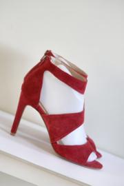Manfield - Rood suede sandalen met hak - Mt 37