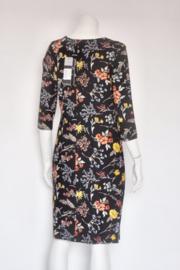 Smashed Lemon - Zwart gebloemde pencil dress - Mt M 38