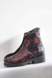 Red Rag - Zwart rode velours laarsjes met print - Mt 39