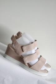 Ecco - Zacht roze lederen sleehak sandalen - Mt 41