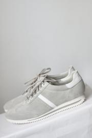 S Oliver - Grijs wit suede lederen sneakers - Mt 42
