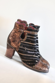 Laura Vita - Zwart brons lederen enkellaarsjes - Mt 41