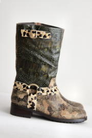 Beverly Feldman - Bruin groene boots met print - Mt 40