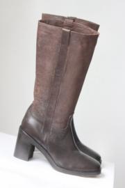 Progetto - Hoge bruin lederen laarzen met blokhak - Mt 38