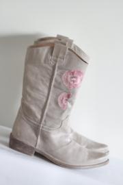 Méliné - Beige lederen boots met roze geborduurde bloemen - Mt 40