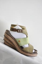 ART - Groen bruin lederen sleehak sandalen - Mt 41