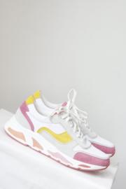 Poelman - Wit roze geel suede sneakers - Mt 41
