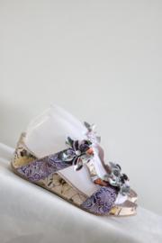 Nina Vita - Paars lederen slippers met bloemen - Mt 39
