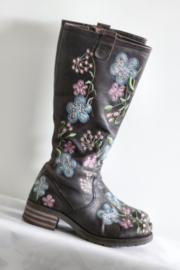 Brako - Hoge bruin lederen geborduurde boots - Mt 42