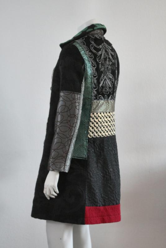 Onwijs Desigual - Zwart groene winterjas met print - Mt 38 | NEW IN GL-03