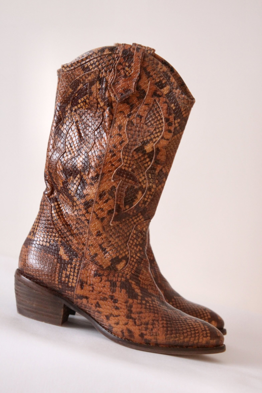 Kanna - Bruin zwart lederen boots - Mt 40