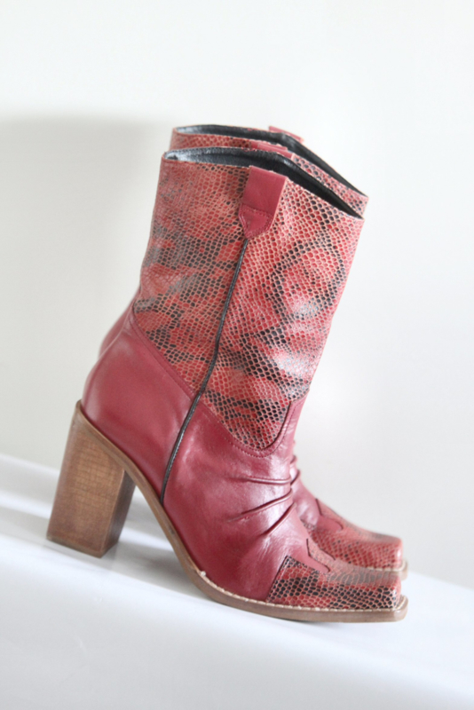 Prentiss - Roze rood lederen cowboy boots met hak - Mt 39