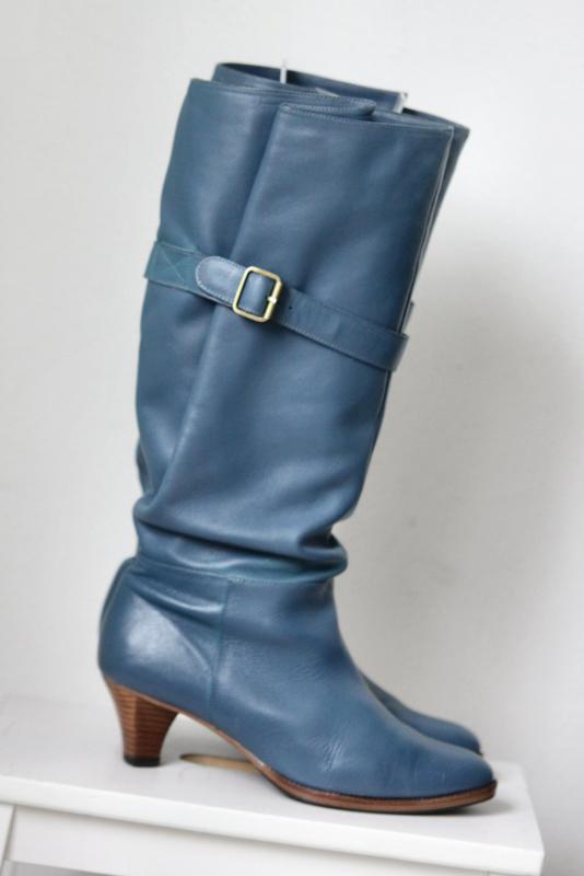 Wonderbaarlijk Invito - Hoge blauw lederen laarzen brede schacht - Mt 40 | NEW IN NU-18