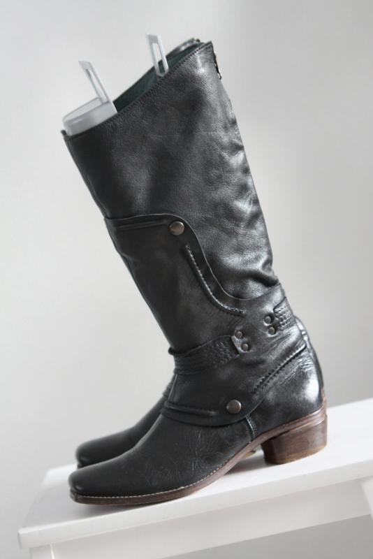 Dick Boons Zwart lederen laarzen met lage hak Mt 38