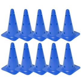 10 Blauwe kegels en pionnen met gaten