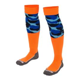 Oranje hockeysokken met blauwe print van Reece