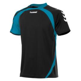 Hummel Odense zwart / blauw shirt met korte mouwen