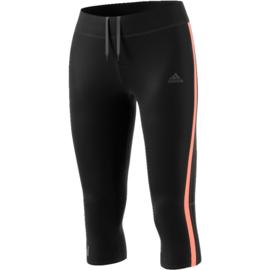Adidas zwarte dames hardloopbroek driekwart met oranje bies