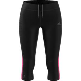 Adidas zwarte dames hardloopbroek driekwart
