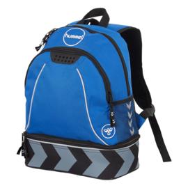 Blauwe voetbaltas als rugzak van Hummel