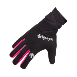 Zwarte spelershandschoenen Reece met roze