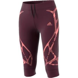 Driekwart running broek dames bordeaux  Adidas