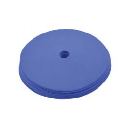 10 platte blauwe markeringsschijven