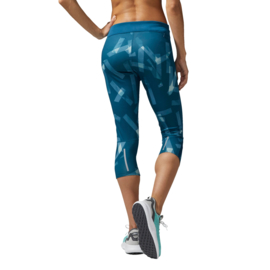 Adidas blauwe dames hardloopbroek driekwart