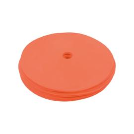 10 platte oranje markeringsschijven