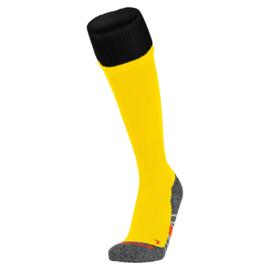 Gele voetbalsokken met zwarte rand aan de bovenkant