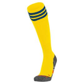 Gele voetbalsokken met aan de bovenkant 3 blauwe ringen