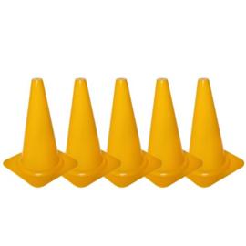 5 Gele pionnen en kegels