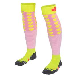 Gele / roze hockeysokken met hartjes van Reece