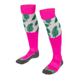 Roze hockeysokken met groene blaadjes van Reece