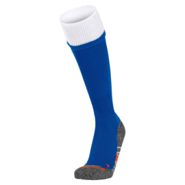 Blauwe voetbalsokken met witte rand aan de bovenkant