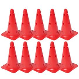 10 Rode kegels en pionnen met gaten