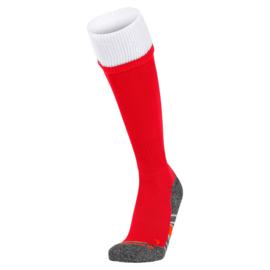 Rode voetbalsokken met witte rand aan de bovenkant
