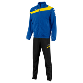 Hummel Elite Teamlijn trainingspak blauw met gele bies op de borst